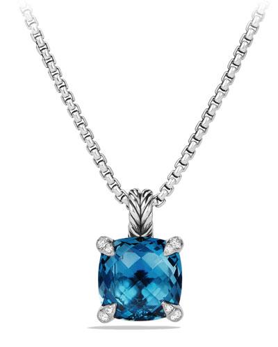David Yurman 11mm Chatelaine Hampton Blue Topaz Pendant