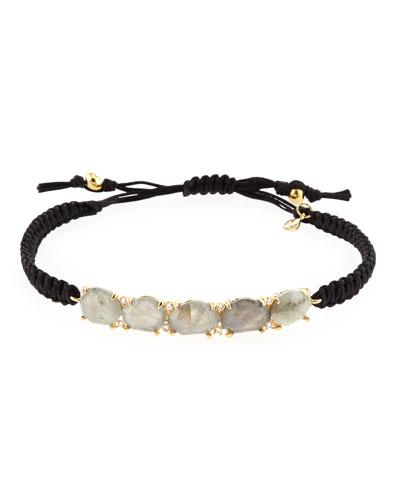 Labradorite Station Bracelet w/Silk Cord, Black