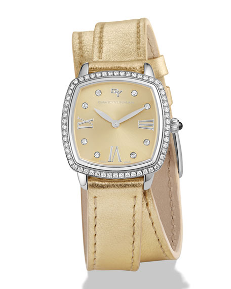 27mm Albion Diamond Leather Strap Watch, Golden