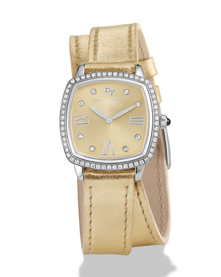 David Yurman 27mm Albion Diamond Leather Strap Watch,