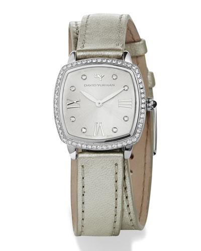 27mm Albion Diamond Leather Strap Watch, White/Silvertone