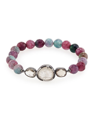 Multicolor Glass Bead Station Bracelet