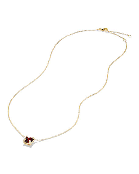 Chatelaine 7mm Faceted Garnet & Diamond Pendant Necklace