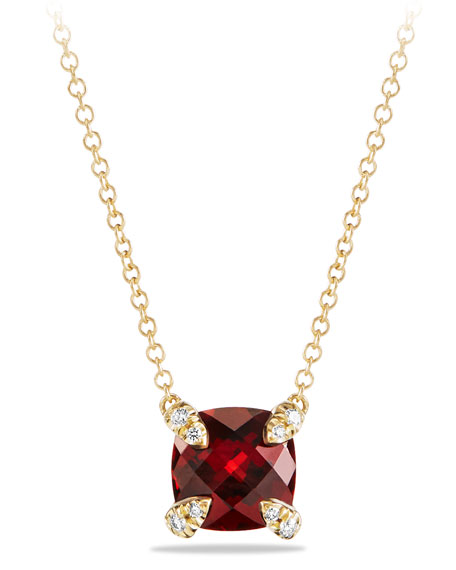 David Yurman Chatelaine 7mm Faceted Garnet & Diamond