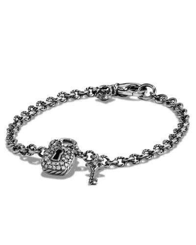 Cable Diamond Lock & Key Charm Bracelet