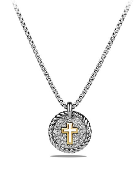 David Yurman Petite Cable Pavé Diamond Cross Pendant