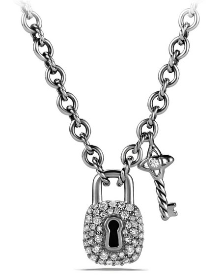 David Yurman Diamond Lock & Key Charm Necklace,