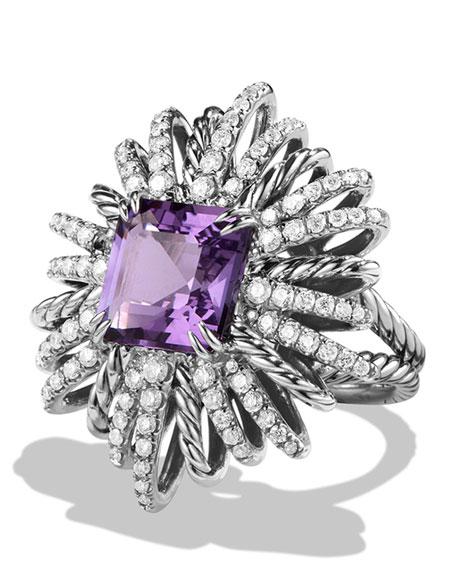 David Yurman 30mm Diamond & Amethyst Starburst Ring