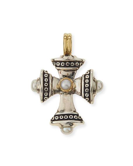 Konstantino Petite Pearl Cross Pendant