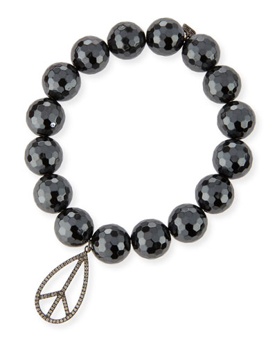 12mm Faceted Hematite Bead Bracelet w/Diamond Peace Sign Charm