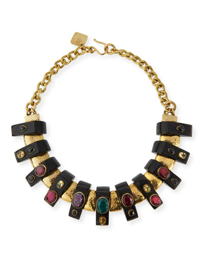 Uongozi Dark Horn & Mixed Stone Collar Necklace