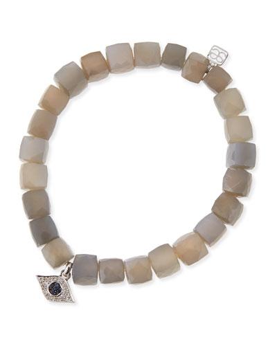 8mm Faceted Gray Moonstone Beaded Bracelet w/ 14k White Gold Diamond Evil Eye Charm