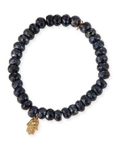 8mm Faceted Black Spinel Bead Bracelet w/Diamond Hamsa Charm