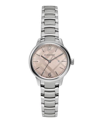 32mm Round Stainless Steel Watch w/Pink Dial