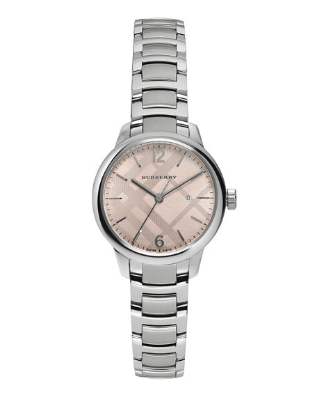 Burberry 32mm Round Stainless Steel Watch w/Pink Dial