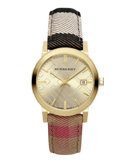Burberry 38mm Golden Stainless Steel Watch w/Check Canvas