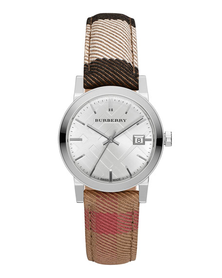 Burberry 34mm Stainless Steel Watch w/Check Canvas Strap