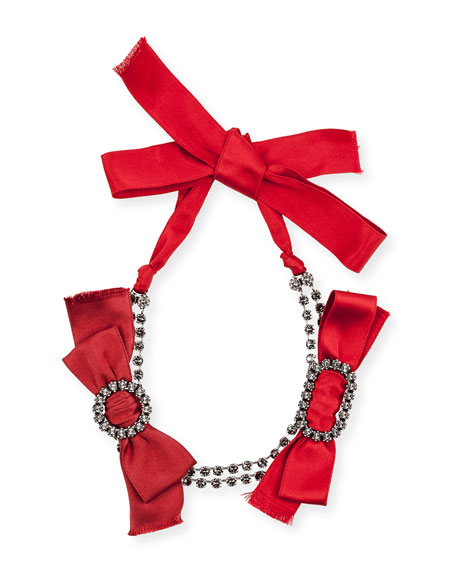 Red Bow Crystal Choker Necklace