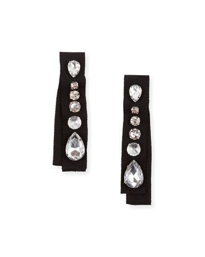 Crystal-Embellished Grosgrain Clip-On Earrings