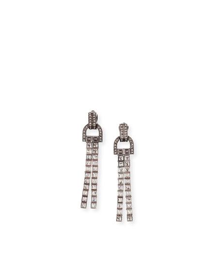 Lanvin Linear Crystal Tassel Earrings