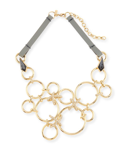 Alexis Bittar Bond Link Bib Necklace w/Leather Strap