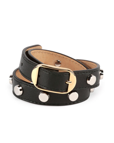 Double Tour Leather Wrap Belt Bracelet, Black