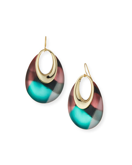 Orbital Printed Lucite Dangling Earrings, Silk Mosaic