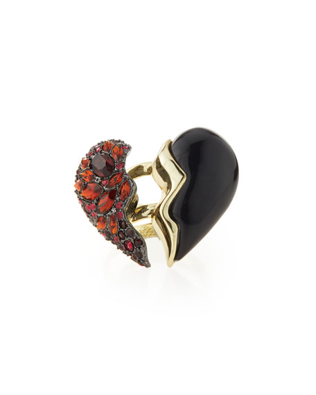 Rotating Broken-Heart Crystal Cocktail Ring, Size 7