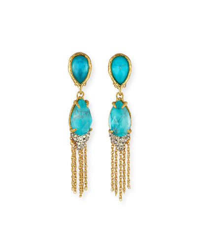 Double-Teardrop Tassel Clip-On Earrings