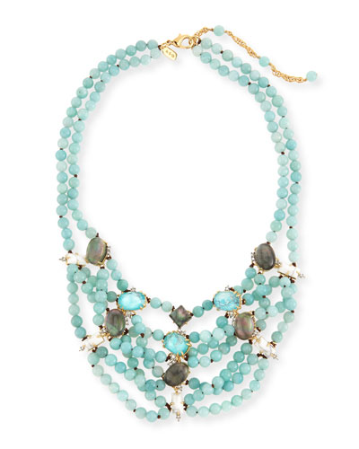 Beaded Multi-Strand Turquoise Howlite Bib Necklace