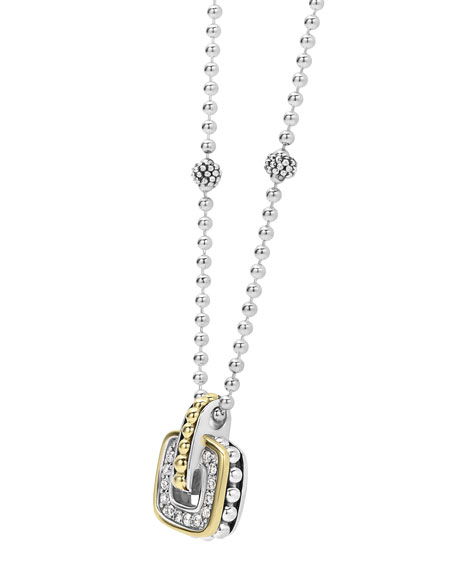 Diamond Cushion Caviar Pendant Necklace