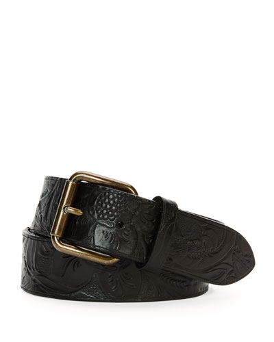 Tooled Leather Belt, Black