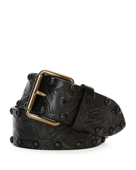 Tomas Maier Tooled Leather Belt W/Studs, Black