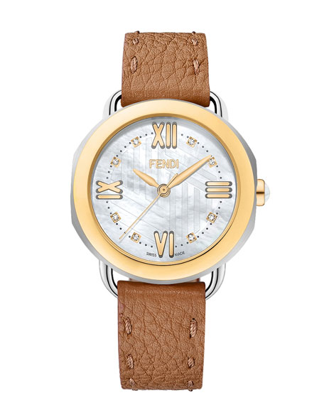 Fendi Timepieces 36mm Selleria Brown Leather Watch