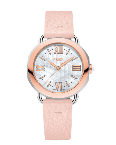 Fendi Timepieces 36mm Selleria Rose Gold Leather Strap