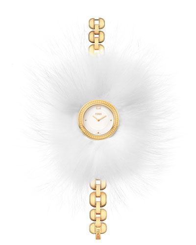 36mm My Way Watch w/Removable Fur Glamy, Yellow Gold