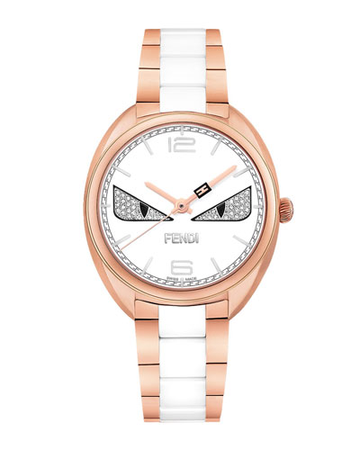 Stainless Steel Fendi Diamond Bug Watch, Rose