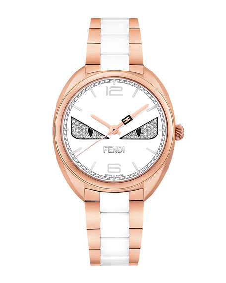 Fendi Stainless Steel Fendi Diamond Bug Watch, Rose