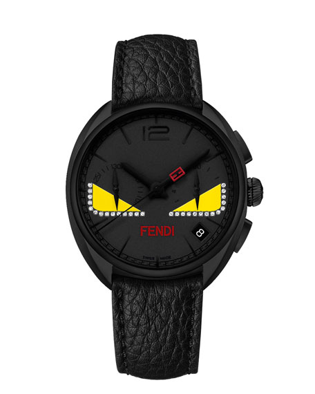 Fendi 40mm Ladies' Monster Eyes Chronograph Watch, Black