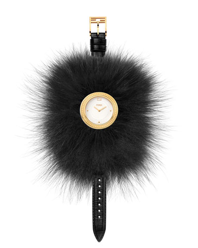 36mm My Way Watch w/Removable Fur Glamy, Black