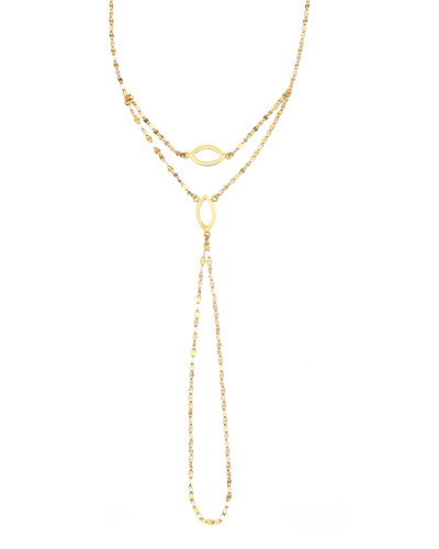 14K Gold Marquis Wrist Lariat Bracelet