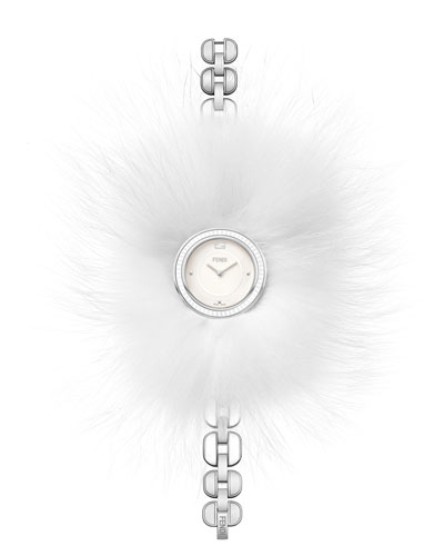 36mm My Way Stainless Steel Watch w/Removable Fur Glamy