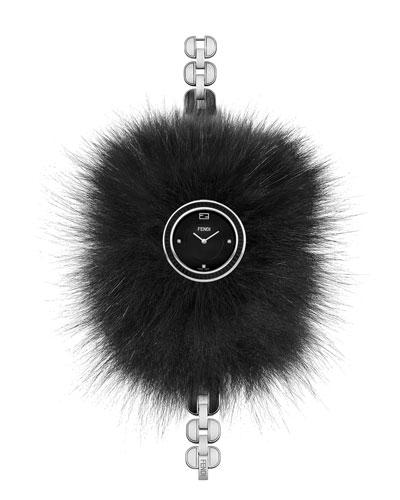 36mm My Way Ceramic Watch w/Removable Fur Glamy, Black