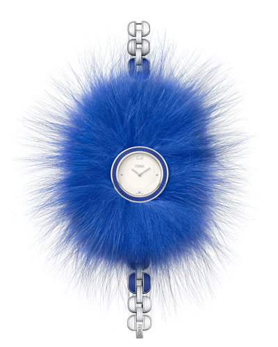 36mm My Way Ceramic Watch w/Removable Fur Glamy, Blue