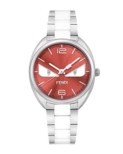 Stainless Steel Fendi Bug Watch, Red