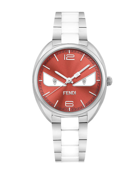Fendi Timepieces Stainless Steel Fendi Bug Watch, Red