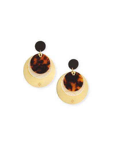 Layered Tortoiseshell Disc Earrings