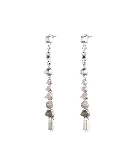 Eddie Borgo Assemblage Rose Quartz Spike Drop Earrings