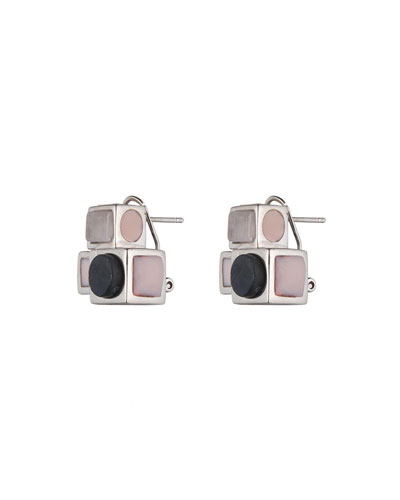 Mosaic Rose Quartz Box Stud Earrings