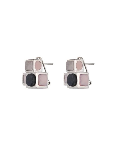 Mosaic Rose Quartz Box Stud Earrings